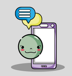 smartphone with chat bubble emoji face vector image