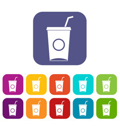 Soft drink in paper cup icons set flat vector