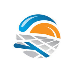 solar panels logo house and sun template vector image