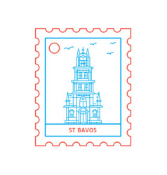 St bavos postage stamp blue and red line style vector