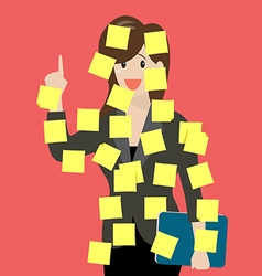 Sticky notes girl vector image