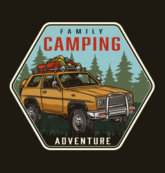 Summer camping colorful label vector