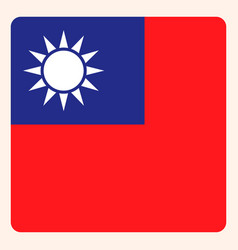 taiwan square flag button social media vector image