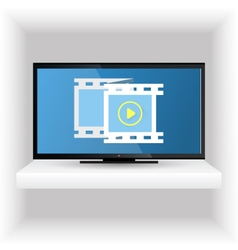 Television set on the shelf vector