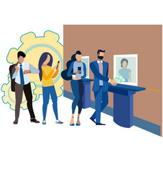 the queue at bank cashier payment loan vector image