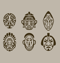 tribal mask set of africa asia and america vector image