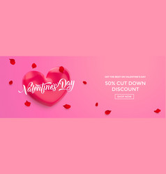 valentines day sale background poster or banner vector image