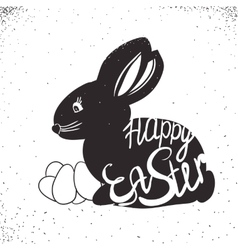 Vintage bunny for Easter holiday Lettering hand vector