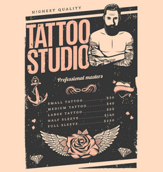 vintage tattoo studio poster vector image