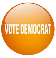 Vote democrat orange round gel isolated push vector