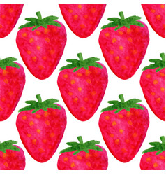Watercolor seamless pattern strawberry background vector
