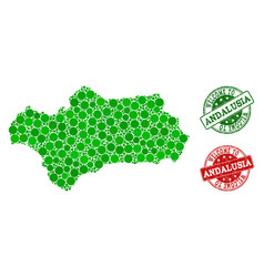 Welcome collage of map of andalusia province and vector