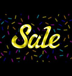 Yellow text sale lettering on black background vector