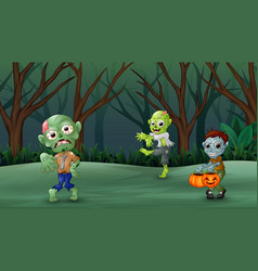 Zombie cartoon walking in the forest vector