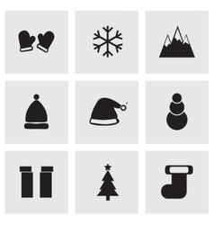 black winter icons set vector image