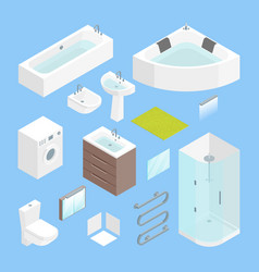 furniture bathroom interior element set isometric vector image vector image