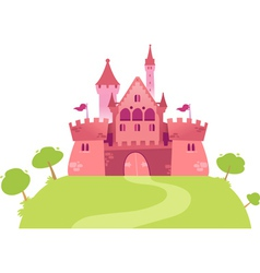 Pink cartoon castle vector image