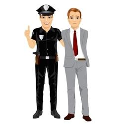 Policeman arresting businessman vector image