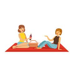 Pretty girls having picnic two women characters vector