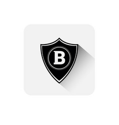 shield with bitcoin sign icon digital web money vector image