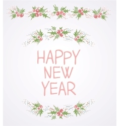 Wreath with Happy new year vector image