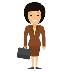 asian businesswoman character with case in flat vector image vector image