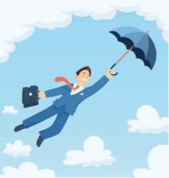 businessman flying vector image vector image