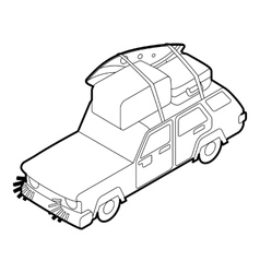 Car with luggage and boxes icon isometric 3d style vector image
