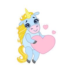Cartoon light blue unicorn standing and holding vector