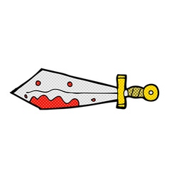 comic cartoon bloody sword vector image vector image