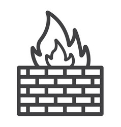 firewall line icon security and brick wall vector image