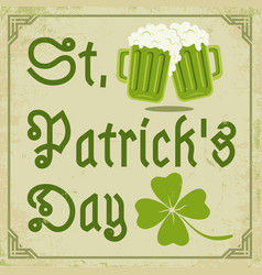 green clover and two beer mugs vector image vector image