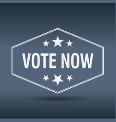 vote now hexagonal white vintage retro style label vector image vector image