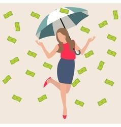 woman umbrella money rain dollar cash rich lucky vector image