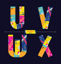 alphabet colorful geometric style in a set uvwx vector image