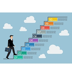 Businessman stepping up a staircase infographic vector image vector image