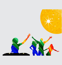 multicoloured silhouette of dancers and dj vector image vector image