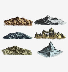 set of vintage old engraving with mountains peaks vector image
