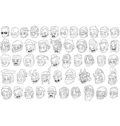 different funny cartoon black and white characters vector image vector image