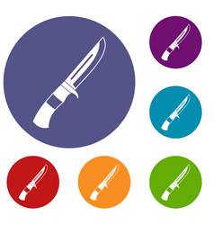 knife icons set vector image vector image