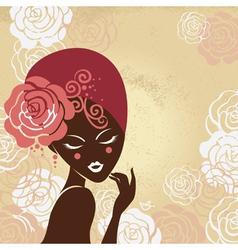 Retro beautiful woman silhouette vector image vector image
