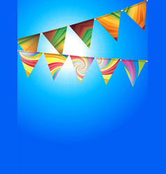 striped bunting over sunny blue sky vector image vector image