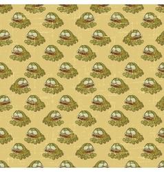 Vintage cartoon frogs pattern vector image vector image
