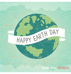 Vintage Earth Day Poster Cartoon Earth Rays clou vector image vector image