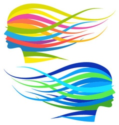 Woman with flowing long hair vector image vector image