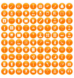 100 medical care icons set orange vector