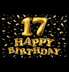 17 years anniversary invitation card - shiny gold vector image