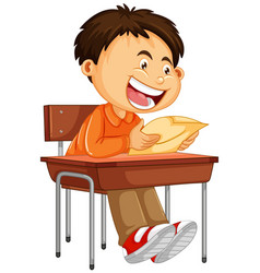A boy reading paper vector