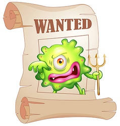 A wanted monster vector image