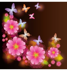 Abstract background with exotic flower vector